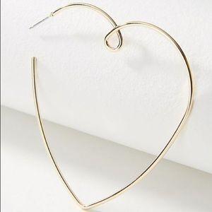 NWT! Anthropologie Loving Heart Hoop Earrings